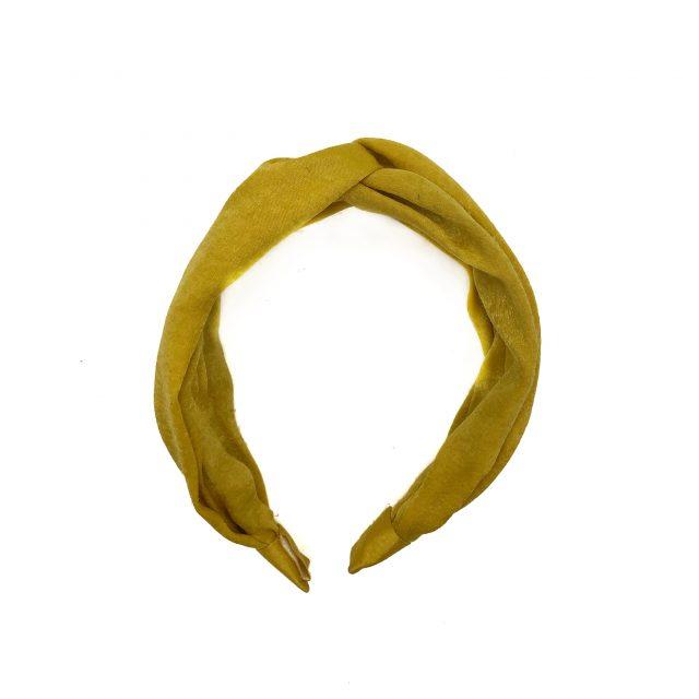 Diadema con Nudo de Satén Amarillo Doble