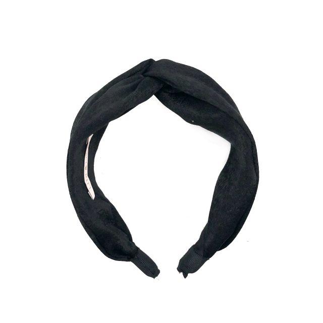 Diadema con Nudo de Satén Negro Doble