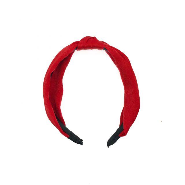 Diadema con Nudo de Satén Rojo