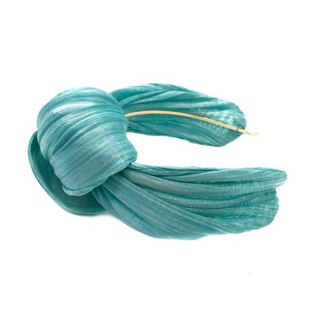 Diadema con Nudo de Sinamay de Seda Azul