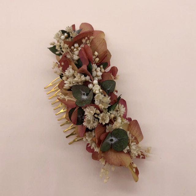 Peineta de Flores Rosa y Paniculata Blanca