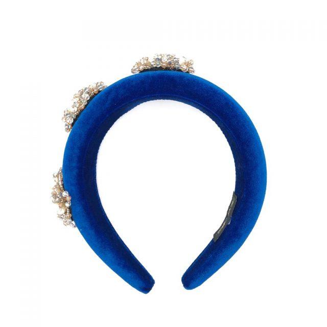 Diadema Joya de Terciopelo Azul