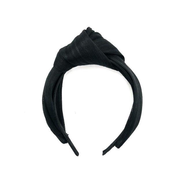 Diadema con Nudo de Sinamay de Algodón Negro