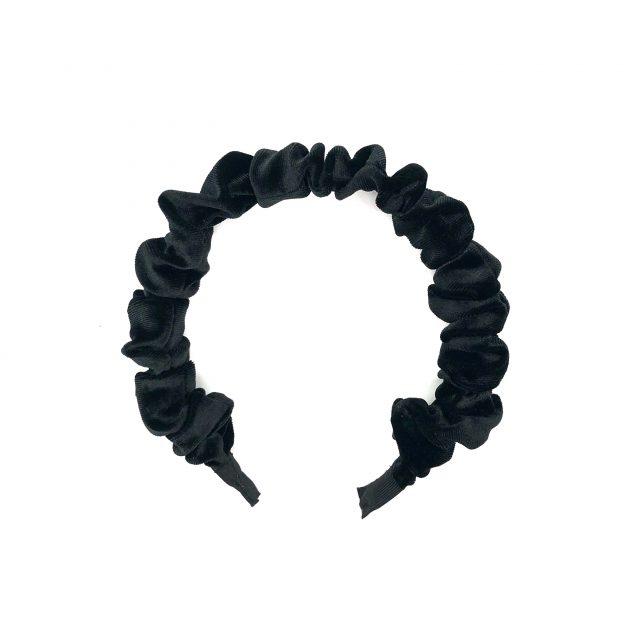 Diadema con Fruncidos de Terciopelo Negro