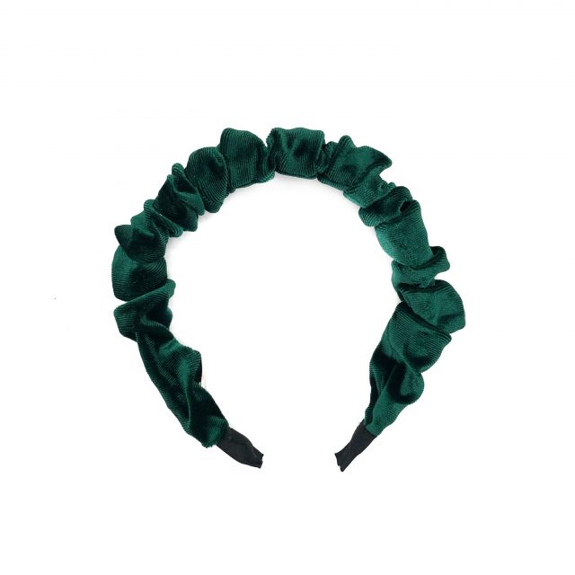 Diadema con Fruncidos de Terciopelo Verde